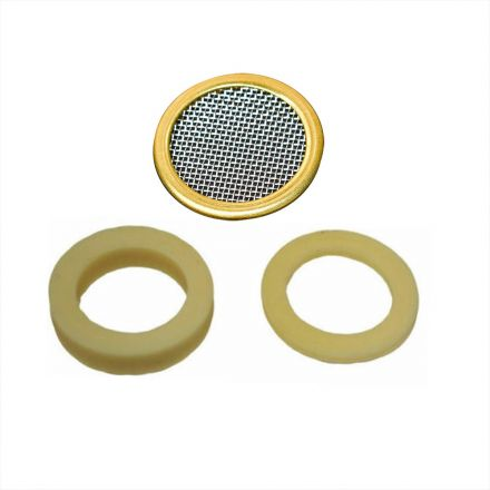 Thrifco Plumbing 4400257 Aerator Washer Kit NSF Standard Black Rubber Washer (2mm & 4mm Thick) with S.S. Grill Net