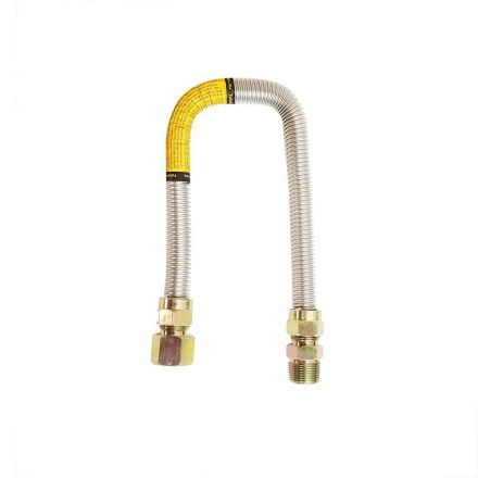 Thrifco Plumbing 4400694 5/8 Inch O.D. x 1/2 Inch I.D. x 24 Inch Long with 3/4 Inch MIP x 3/4 Inch FIP Fitting - Stainless Steel Gas Flex