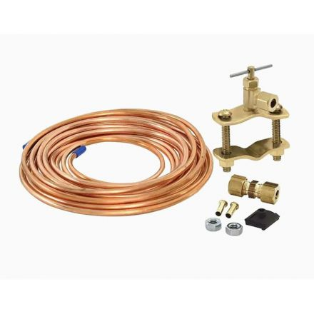 Thrifco Plumbing 4400714 15ft 1/4 Inch OD Inlet x 1/4 Inch OD Outlet Copper Ice Maker Installation Kit