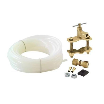 Thrifco Plumbing 4400720 15ft 1/4 Inch OD Inlet x 1/4 Inch OD Outlet Poly Ice Maker Installation Kit