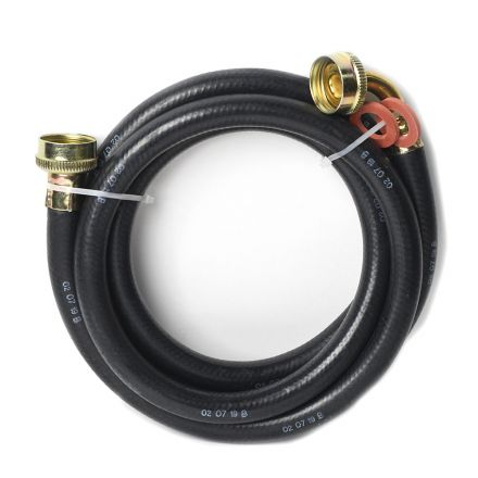 Thrifco Plumbing 4400746 6 FT Washing Machine Reinforced Rubber Hose Inlet Hose with 3/4 Inch GHT Connector x 3/4 Inch GHT 90° Elbow Connector