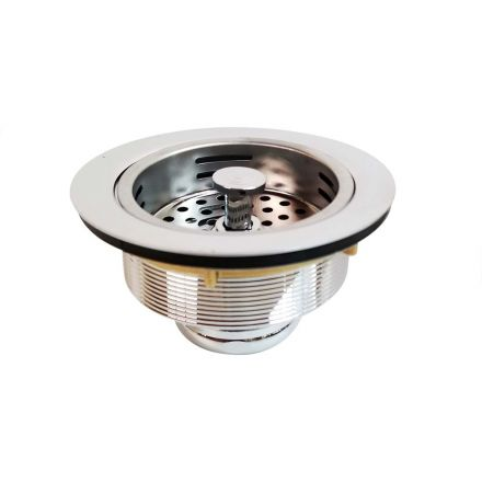 Thrifco Plumbing 4401415 3-1/2 Inch Kitchen Sink Strainer Assembly (Chrome Plated Brass)