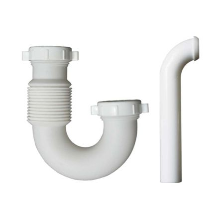 Thrifco Plumbing 4401676 1-1/2 Inch Flexible Accordian Design P-Trap with Nut & Washer