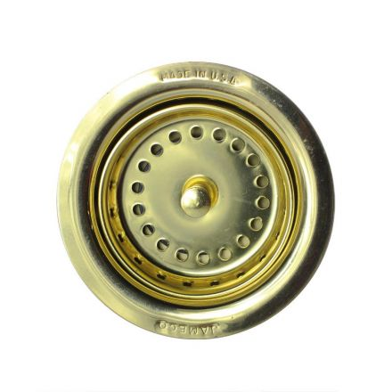 Thrifco Plumbing 4402262 3-1/2 Inch Post Style Kitchen Sink Basket Strainer - Brass Polished