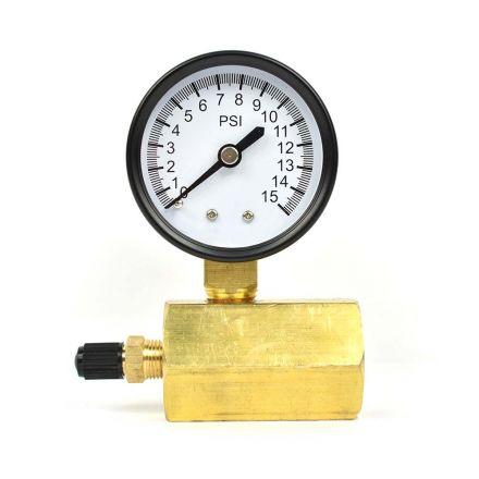 Thrifco Plumbing 4402335 Test Pressure Gauge 2 Inch 15 PSI - 1/4 Inch NPT Bottom Mount 3/4 Inch FNPT