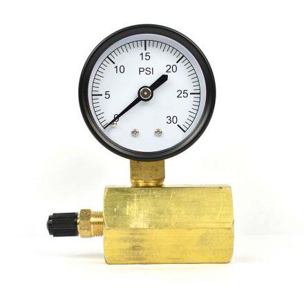 Thrifco Plumbing 4402336 Test Pressure Gauge 2 Inch 30 PSI - 1/4 Inch NPT Bottom Mount 3/4 Inch FNPT