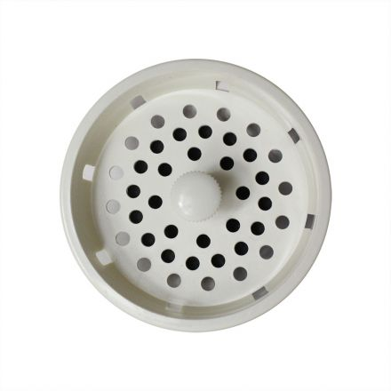 Thrifco Plumbing 4402352 3-1/4 Inch  Strainer Basket with Stopper - White