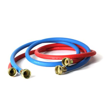 Thrifco Plumbing 4402745 Washing Machine Reinforced Rubber Hose Set 5ft Hot (Red) / Cold (Blue) with 3/4 Inch GHT Connectors on Both Ends