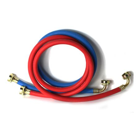 Thrifco Plumbing 4402746 5ft Reinforced Rubber Washing Machine Hose Set 1 Hot (Red) & 1 Cold (Blue) with 3/4 Inch GHT Connector x 3/4 Inch GHT 90° Elbow Connector