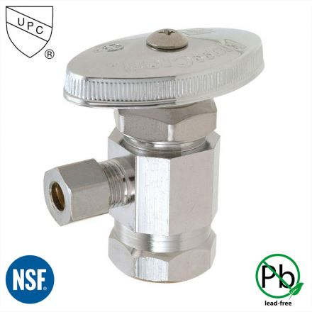 Thrifco Plumbing 4405458 1/2 Inch FIP x 1/4 Inch Comp Multi Turn Brass Angle Stop Valve (Lead Free)