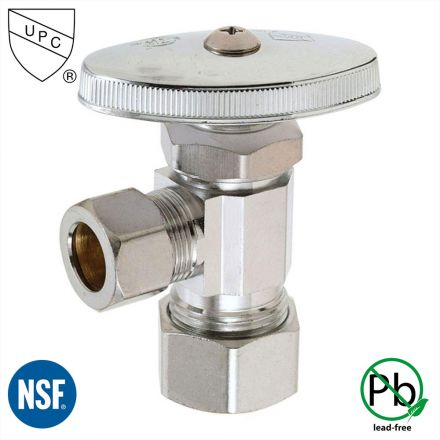 Thrifco Plumbing 4405459 5/8 Inch Comp x 1/4 Inch Comp Multi Turn Brass Angle Stop Valve (Lead Free)