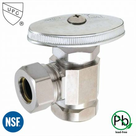 Thrifco Plumbing 4405460 1/2 Inch FIP x 1/2 Inch Slip Joint Multi Turn Brass Angle Stop Valve (Lead Free)