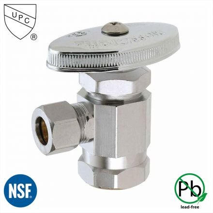 Thrifco Plumbing 4405462 1/2 Inch FIP x 3/8 Inch Comp Multi-Turn Angle Stop Valve (Lead Free)