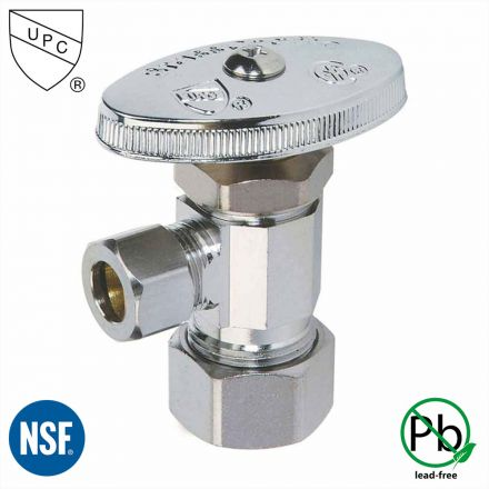 Thrifco Plumbing 4405463 5/8 Inch Comp x 3/8 Inch Comp Multi Turn Brass Angle Stop Valve (Lead Free)