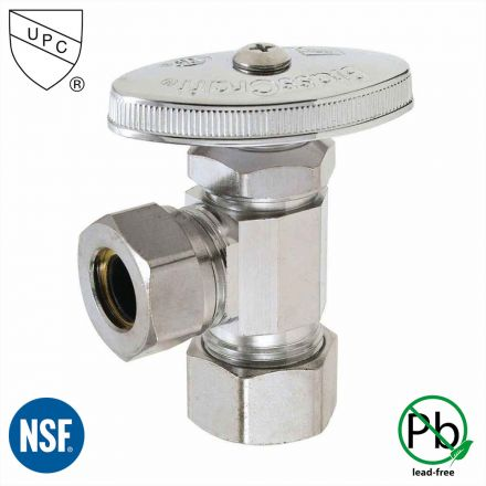 Thrifco Plumbing 4405464 5/8 Inch Comp x 1/2 Inch Slip Joint Multi Turn Brass Angle Stop Valve (Lead Free)
