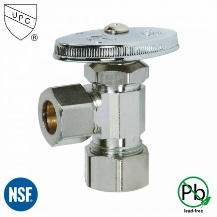 Thrifco Plumbing 4405465 5/8 Inch Comp x 1/2 Inch Comp Multi Turn Brass Angle Stop Valve (Lead Free)