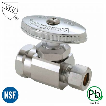 Thrifco Plumbing 4405467 1/2 Inch FIP x 3/8 Inch Comp Multi Turn Brass Angle Stop Valve (Lead Free)