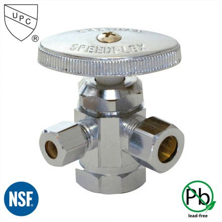 Thrifco Plumbing 4405591 1/2 Inch FIP x 3/8 Inch Comp x 1/4 Inch Comp Multi Turn Brass Angle Stop Valve (Lead Free)