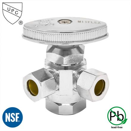 Thrifco Plumbing 4405592 1/2 Inch FIP x 3/8 Inch Comp x 3/8 Inch Comp Multi Turn Brass Angle Stop Valve (Lead Free)