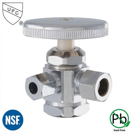 Thrifco Plumbing 4405593 1/2 Inch FIP x 1/2 Inch Comp x 3/8 Inch Comp Multi Turn Brass Angle Stop Valve (Lead Free)
