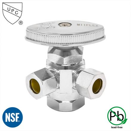 Thrifco Plumbing 4405595 1/2 Inch FIP x 1/2 Inch Slip Joint x 3/8 Inch Comp Multi Turn Brass Angle Stop Valve (Lead Free)