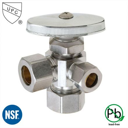 Thrifco Plumbing 4405598 5/8 Inch Comp x 1/2 Inch Comp x 3/8 Inch Comp Multi Turn Brass Angle Stop Valve (Lead Free)