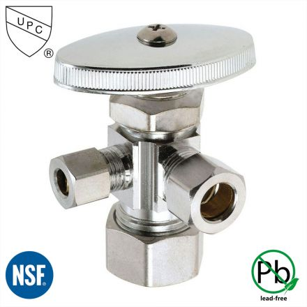 Thrifco Plumbing 4405599 5/8 Inch Comp x 1/2 Inch Slip Joint x 1/4 Inch Comp Multi Turn Brass Angle Stop Valve (Lead Free)