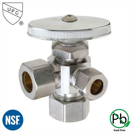 Thrifco Plumbing 4405601 5/8 Inch Comp x 1/2 Inch Slip Joint x 3/8 Inch Comp Multi Turn Brass Angle Stop Valve (Lead Free)