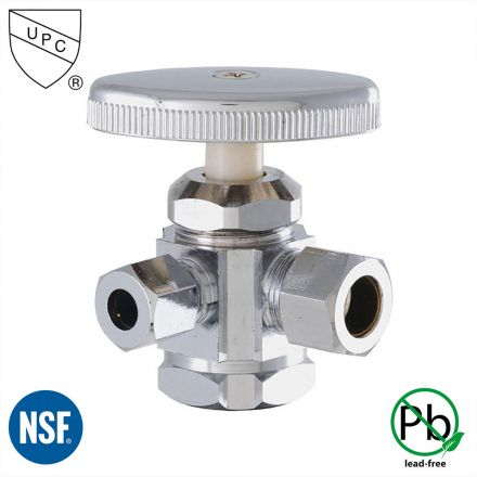 Thrifco Plumbing 4405603 1/2 Inch FIP x 1/2 Inch Comp x 1/4 Inch Comp Multi Turn Brass Angle Stop Valve (Lead Free)