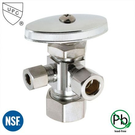 Thrifco Plumbing 4405604 5/8 Inch Comp x 1/2 Inch Comp x 1/4 Inch Comp Multi Turn Brass Angle Stop Valve (Lead Free)