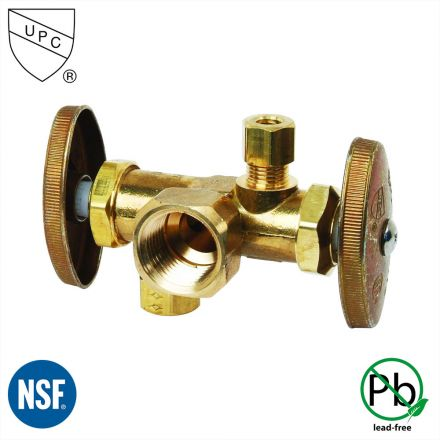 Thrifco Plumbing 4405680 1/2 Inch FIP x 3/8 Inch Comp x 1/4 Inch Comp Dual Outlet & Dual Shut Off Multi Turn Angle Stop Valve (Lead Free)