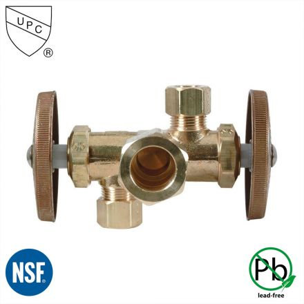 Thrifco Plumbing 4405690 5/8 Inch Comp x 3/8 Inch Comp x 1/4 Inch Comp Dual Outlet & Dual Shut Off Multi Turn Angle Stop Valve (Lead Free)