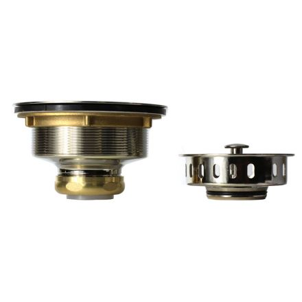 Thrifco Plumbing 4405723 Kitchen Basket Strainer Assembly Single Post with Beveled Base & O-Ring (Satin Nickel)