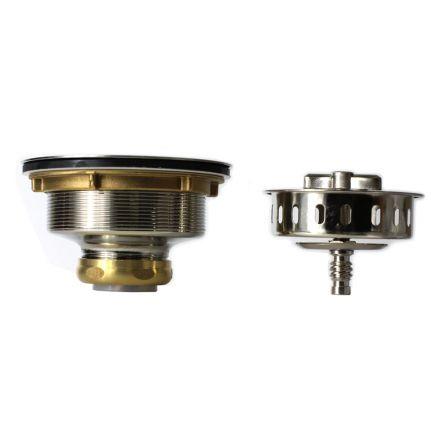 Thrifco Plumbing 4405724 3-1/2 Inch Twist Tight Kitchen Sink Strainer Assembly (Satin Nickel)