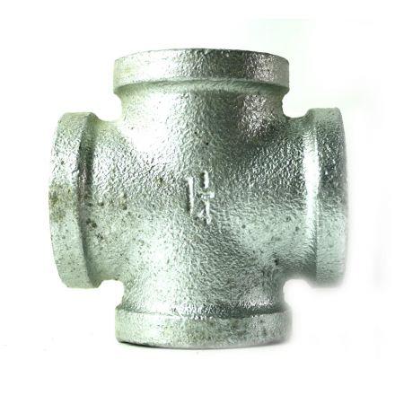 Thrifco Plumbing 5218008 1-1/4 Inch Galvanized Steel Cross