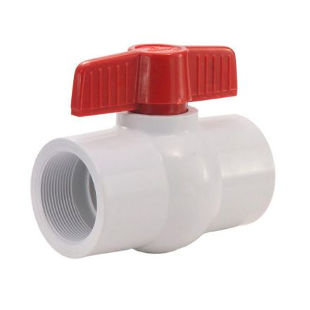 Thrifco Plumbing 6415422 1 Inch PVC Threaded Ball Valve - Red Handle