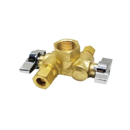Thrifco Plumbing 4406680 1/2 Inch FIP x 3/8 Inch Comp x 1/4 Inch Comp Dual Outlet/ Dual Shut Off 1/4-Turn Angle Stop Valve