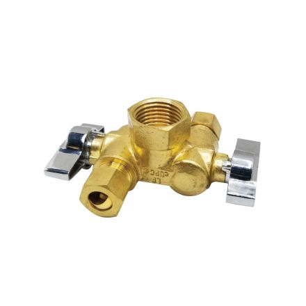 Thrifco Plumbing 4406681 1/2 Inch FIP x 3/8 Inch Comp x 3/8 Inch Comp Dual Outlet/ Dual Shut Off 1/4-Turn Angle Stop Valve