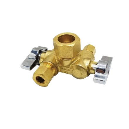 Thrifco Plumbing 4406790 5/8 Inch Comp x 3/8 Inch Comp x 1/4 Inch Comp Dual Outlet/ Dual Shut Off 1/4-Turn Angle Stop Valve