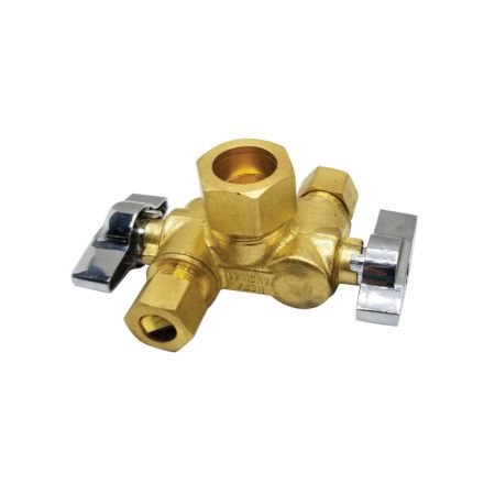 Thrifco Plumbing 4406791 5/8 Inch Comp x 3/8 Inch Comp x 3/8 Inch Comp Dual Outlet/ Dual Shut Off 1/4-Turn Angle Stop Valve