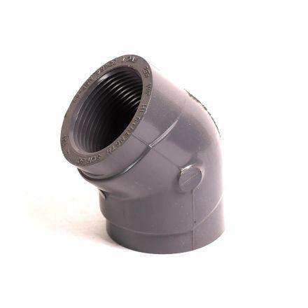 Thrifco Plumbing 8214040 1-1/4 Inch Threaded x Threaded PVC 45 Elbow SCH 80