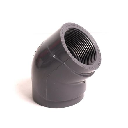 Thrifco Plumbing 8214042 1-1/2 Inch Threaded x Threaded PVC 45 Elbow SCH 80