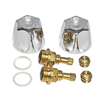 Thrifco Plumbing 9400004 Lavatory/Kitchen 2-Handle Rebuild Kit for Price Pfister Verve Faucets, Metal Handles (HOT/COLD) with Brass Stems & Seats