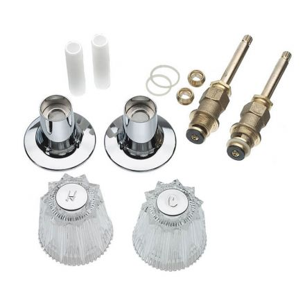 Thrifco Plumbing 9400010 Tub/Shower 2-Handle Remodeling Trim Kit for Price Pfister Windsor, Acrylic Handles, Brass Stem, Chrome Plated Flanges with Nipples