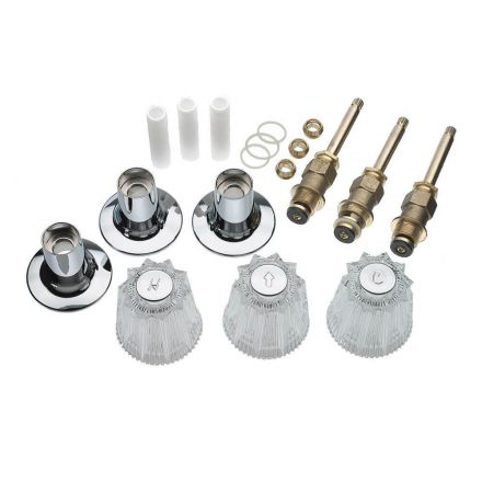 Thrifco Plumbing 9400011 Tub/Shower 3-Handle Remodeling Trim Kit for Price Pfister Windsor, Acrylic Handles, Brass Stem, Chrome Plated Flanges with Nipples