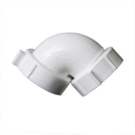 Thrifco Plumbing 9412089 1-1/2 Inch PVC 90° Elbow with Nuts & Washers, Reusable Nuts