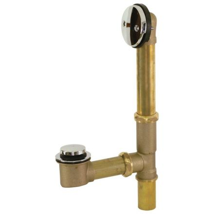 Thrifco Plumbing 9493053 1-1/2 Inch Brass 20-Gauge Tip-Toe Bath Waste & Overflow Assembly