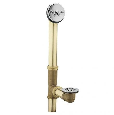 Thrifco Plumbing 9493054 1-1/2 Inch 20 Gauge Brass Trip Lever Bath Waste and Overflow Assembly with Grid Drain Replaces Moen 90410