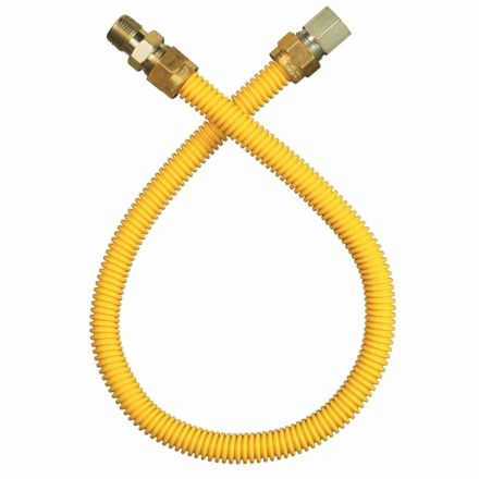 Thrifco Plumbing 4406690 1/2 Inch MIP x 1/2 Inch FIP x 24 Inch Long Gas Appliance Connector Yellow (1/2 Inch O.D. x 3/8 Inch I.D.)
